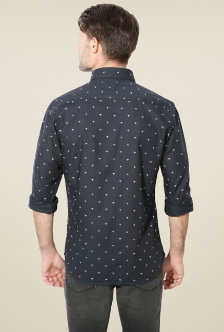 Van Heusen Navy Printed Regular Fit Full Sleeves Shirt
