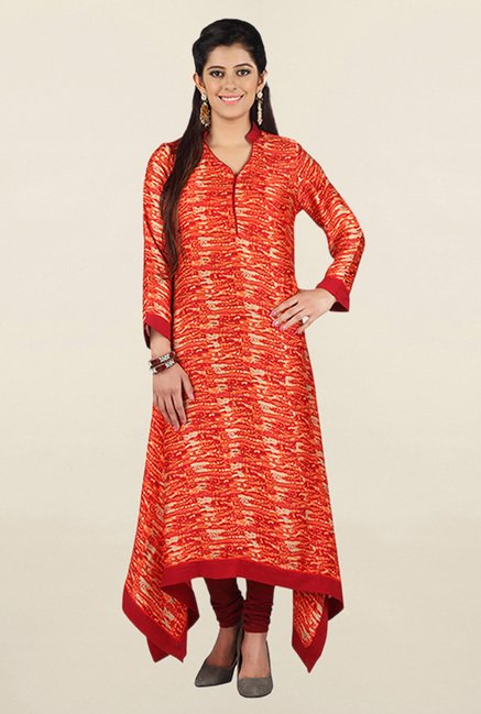 Jashn Orange Printed Satin Kurta
