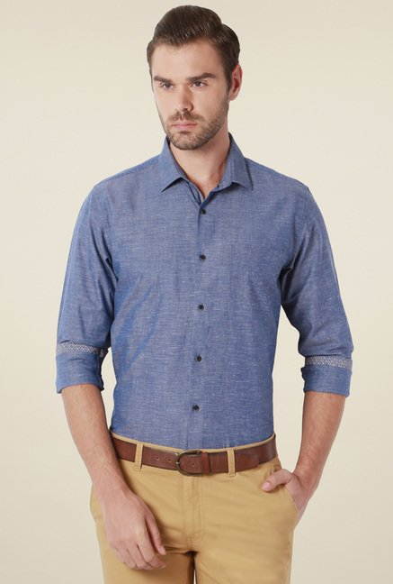Peter England Dark Blue Comfort Fit Shirt