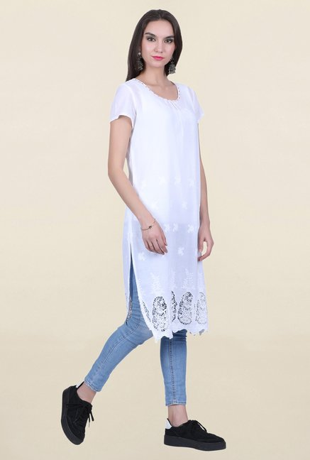 Juniper White Embroidered Kurta