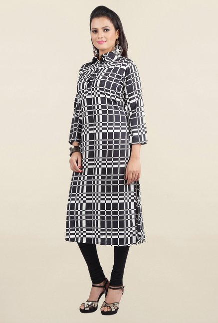 Jashn Black Checks Crepe Kurta