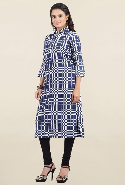 Jashn Navy Checks Crepe Kurta