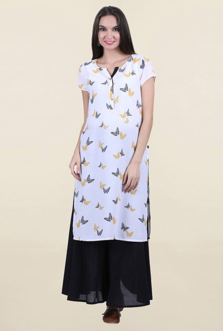 Juniper White Printed Kurta