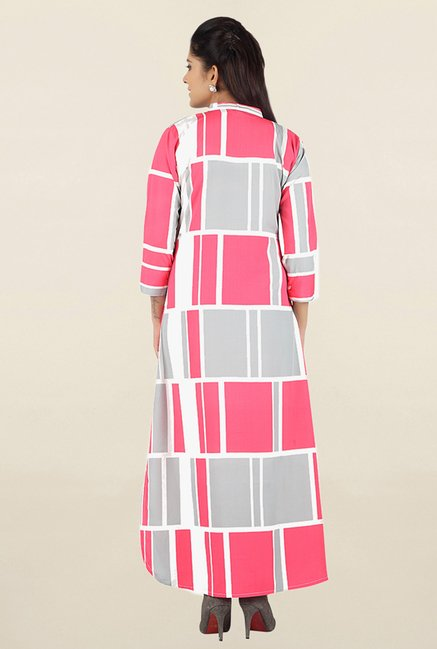 Jashn Pink & Grey Checks Crepe Kurta