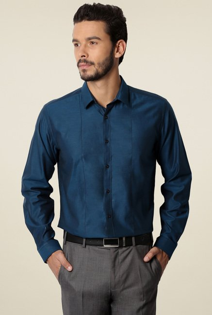 Van Heusen Teal Blue Full Sleeves Cotton Shirt