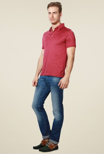 Van Heusen Red Printed Half Sleeves Polo T-Shirt