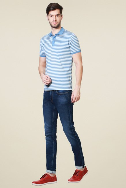 Van Heusen Steel Blue Striped Half Sleeves Polo T-Shirt