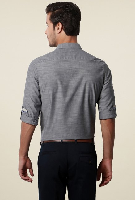 Van Heusen Grey Slub Cotton Shirt