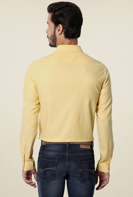 Van Heusen Yellow Slim Fit Cotton Shirt
