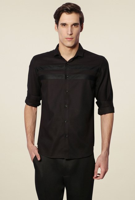 Van Heusen Black Slim Fit Cotton Shirt