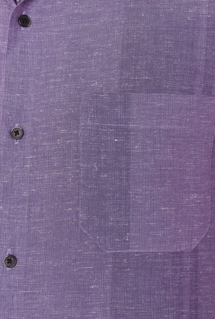 Peter England Purple Full Sleeves Linen Blend Shirt