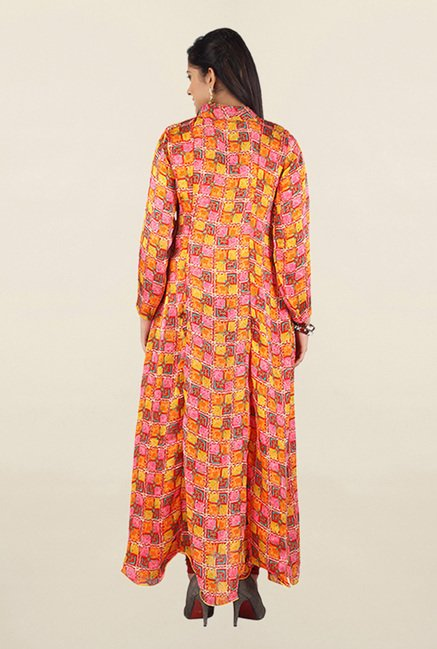 Jashn Orange Printed Georgette Kurta