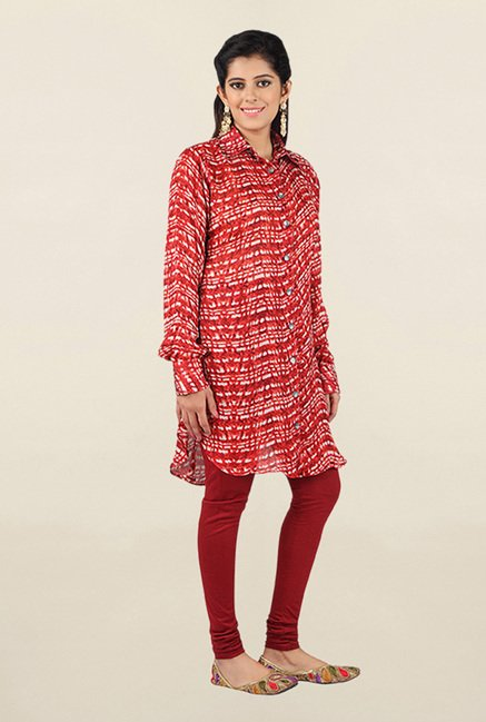 Jashn Red Printed Georgette Tunic