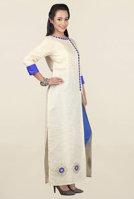 Jashn Off White & Blue Textured Rayon Kurta