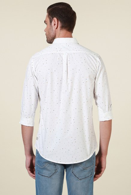 Allen Solly White Comfort Fit Printed Cotton Shirt
