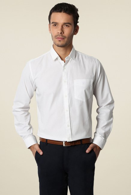 Van Heusen White Full Sleeves Cotton Shirt