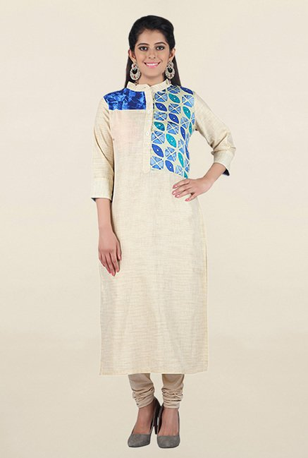 Jashn Off White & Blue Textured Linen Kurta