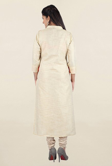 Jashn Off White & Orange Textured Linen Kurta