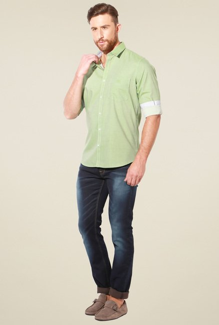 Van Heusen Green Cotton Solid Shirt