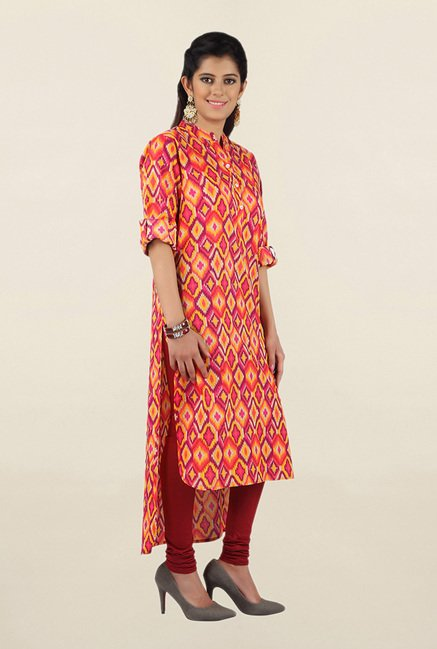 Jashn Pink Printed Cotton Kurta