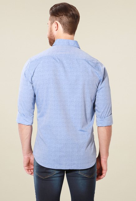Van Heusen Light Blue Printed Full Sleeves Cotton Shirt