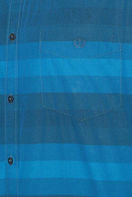 Van Heusen Blue Striped Cotton Full Sleeves Shirt