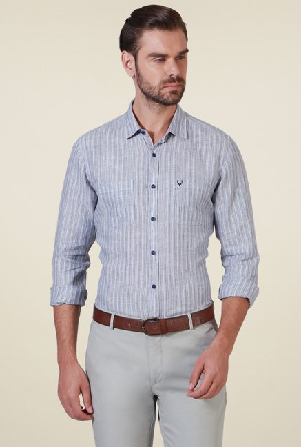 Allen Solly Grey Striped Linen Shirt
