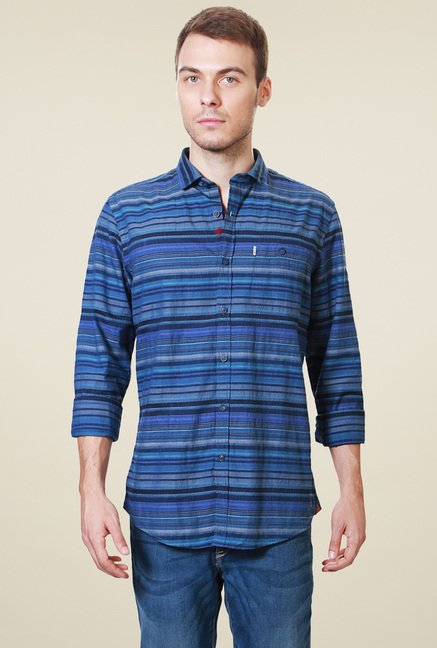 Allen Solly Dark Blue Striped Comfort Fit Shirt