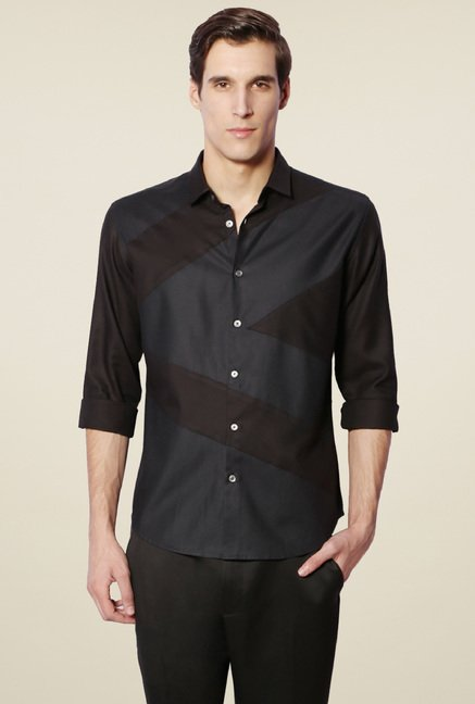 Van Heusen Black Cotton Slim Fit Shirt
