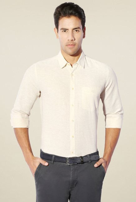Van Heusen Cream Printed Shirt