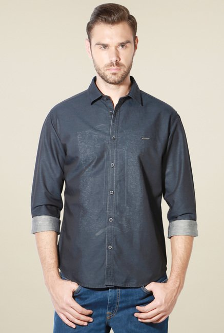 Van Heusen Dark Grey Full Sleeves Slim Fit Shirt