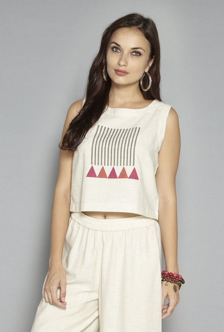 089cfb51cfbbe9 Buy Bombay Paisley by Westside Off White Printed Crop Top for Women Online    Tata CLiQ