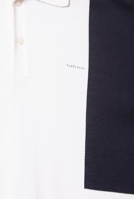 Van Heusen White Half Sleeves Cotton T-Shirt