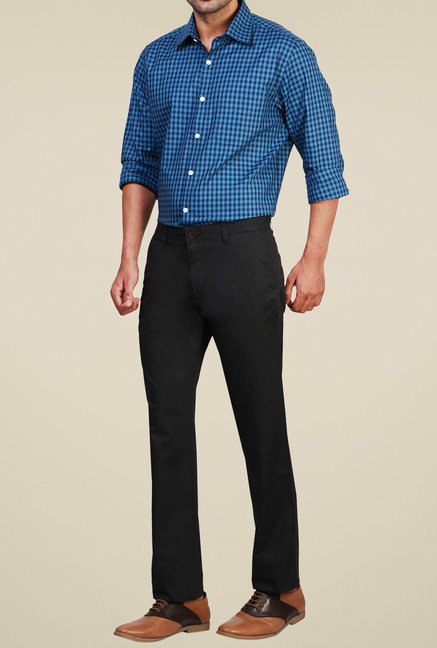 Van Heusen Black Mid Rise Cotton Trousers