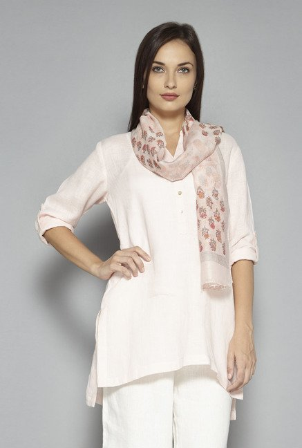 Zuba by Westside Red & Off White Floral Print Dupatta