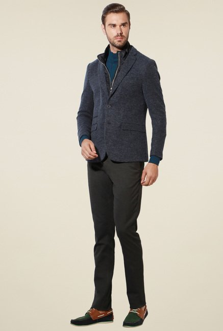 Van Heusen Dark Grey Full Sleeves Blazer