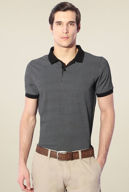 Van Heusen Black Half Sleeves Polo Cotton T-Shirt