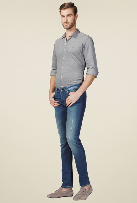 Allen Solly Ocean Blue Lightly Washed Jeans