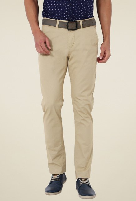 Van Heusen Khaki Printed Slim Fit Trousers