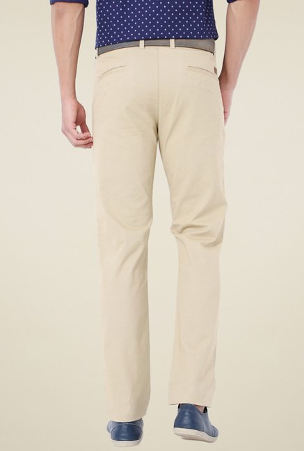 Van Heusen Beige Printed Slim Fit Trousers