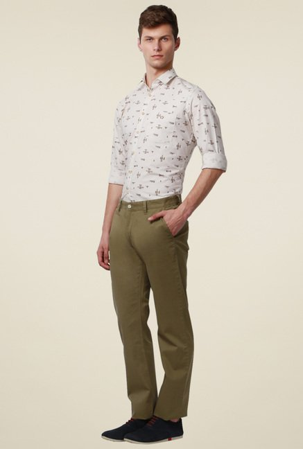 Van Heusen Olive Mid Rise Slim Fit Cotton Trousers