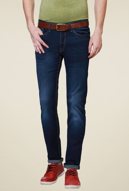 Allen Solly Dark Blue Mid Rise Cotton Slim Fit Jeans