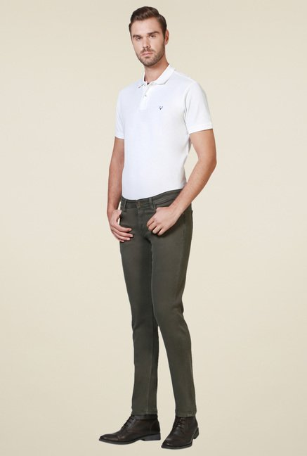 Allen Solly Sage Green Mid Rise Jeans