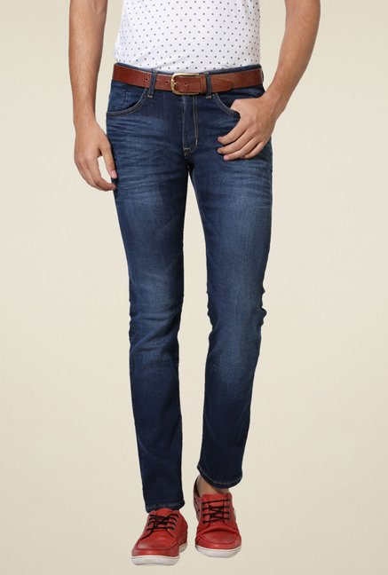 Allen Solly Dark Blue Lightly Washed Slim Fit Jeans