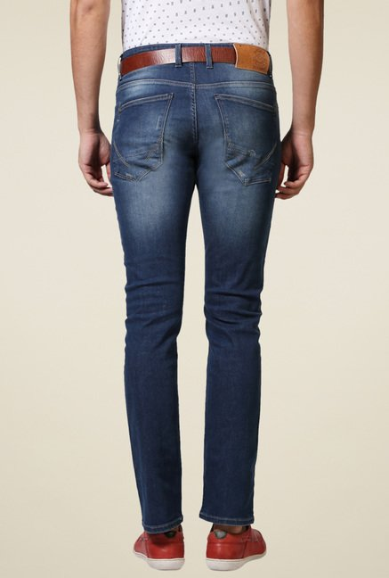 Allen Solly Blue Slim Fit Cotton Mid Rise Jeans