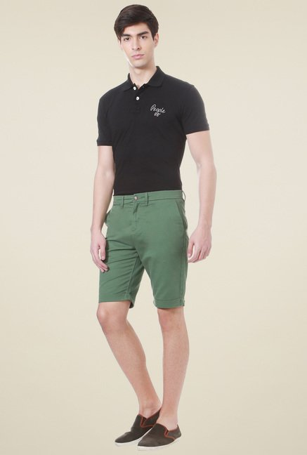 People Green Mid Rise Cotton Shorts