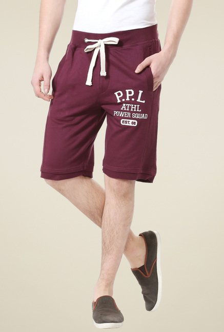 People Maroon Regular Fit Cotton Shorts