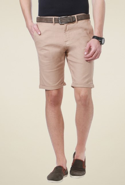 People Beige Mid Rise Regular Fit Shorts