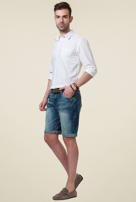 People Blue Slim Fit Cotton Shorts