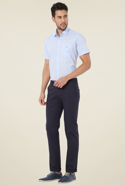 Van Heusen Navy Slim Fit Mid Rise Solid Trousers